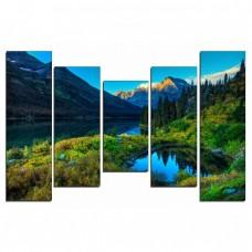 Картина на холсте по фото Модульные картины Печать портретов на холсте Озеро в горах