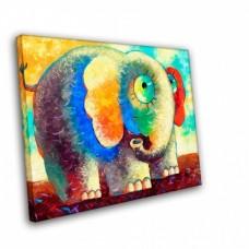 Картина на холсте по фото Модульные картины Печать портретов на холсте Цветной слон