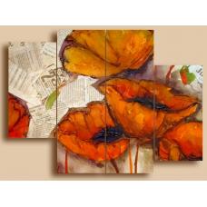 Картина на холсте по фото Модульные картины Печать портретов на холсте Маки винтаж