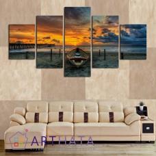 Картина на холсте по фото Модульные картины Печать портретов на холсте Закат на море