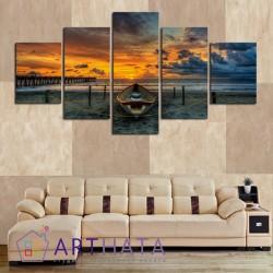 Закат на море - Модульная картины, Репродукции, Декоративные панно, Декор стен