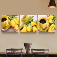 Картина на холсте по фото Модульные картины Печать портретов на холсте Желтые тюльпаны