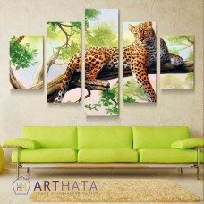 Картина на холсте по фото Модульные картины Печать портретов на холсте Ягуар на дереве