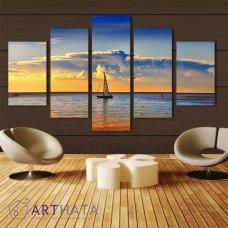 Картина на холсте по фото Модульные картины Печать портретов на холсте Лодка на рассвете