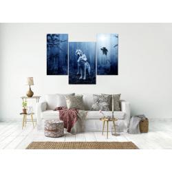 Модульная картина из 3-х частей, синего цвета, волки в ночном лесу  - Модульная картины, Репродукции, Декоративные панно, Декор стен