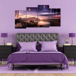 Модульная картина из 4-х частей, лодка на закате - Модульная картины, Репродукции, Декоративные панно, Декор стен