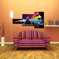 Портреты картины репродукции на заказ - Модульная картина из 3 частей, цветные зайчики в призме