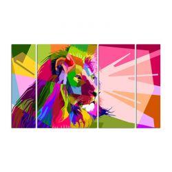 Модульная картина из 4-х частей, цветной лев - Модульная картины, Репродукции, Декоративные панно, Декор стен