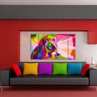 Портреты картины репродукции на заказ - Модульная картина из 4-х частей, цветной лев