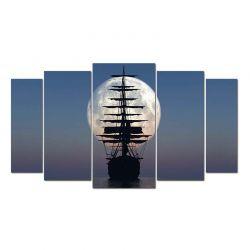 Модульная картина из 5-ти частей, корабль в закате - Модульная картины, Репродукции, Декоративные панно, Декор стен
