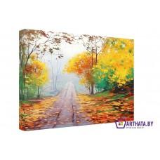 Картина на холсте по фото Модульные картины Печать портретов на холсте Осенняя дорожка