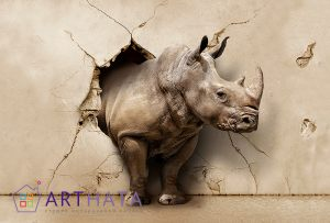 3D Фотообои Носорог